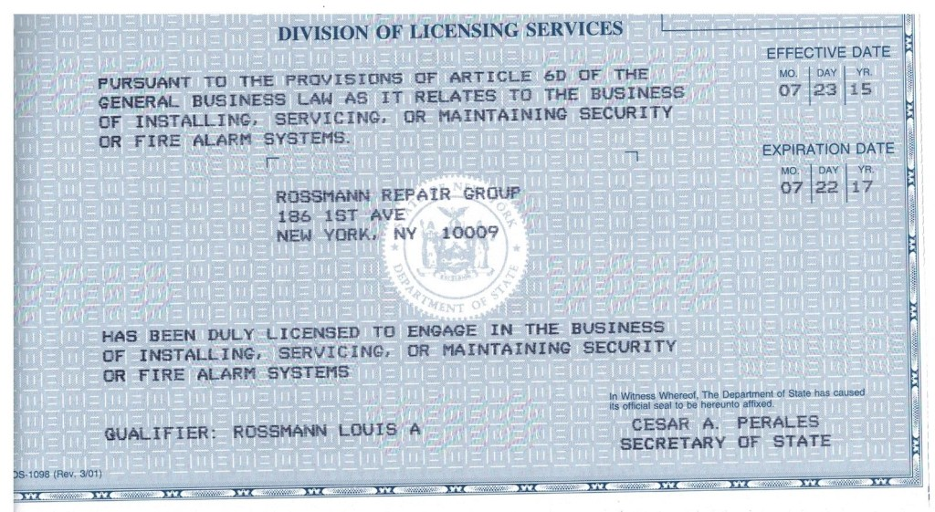 Security or Fire Alarm System Installer License